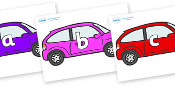 Phase 2 Phonemes on Cars - Phonemes, phoneme, Phase 2, Phase two, Foundation, Literacy, Letters and Sounds, DfES, display