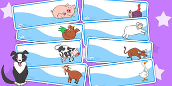 Editable Drawer Peg Name Labels to Support Teaching on Farmyard Hullabaloo - farm, label