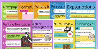 Text Types Guides Poster Pack - text types, different text types, text types posters, text type visual aids, ks2 literacy posters, types of text, ks2