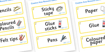 Duckling Themed Editable Creative Area Resource Labels - Themed creative resource labels, Label template, Resource Label, Name Labels, Editable Labels, Drawer Labels, KS1 Labels, Foundation Labels, Foundation Stage Labels