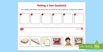 Jam Sandwich Sequencing Activity Sheet - EYFS, Early Years, Orders and Sequences Familiar Events, maths, mathematics, 40-60, Time, sequencing