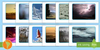 Weather Display Photos US English/Spanish (Latin) - Weather display photos, Display Posters, Weather, A4, display, posters, rain, wind, sun, snow, thund