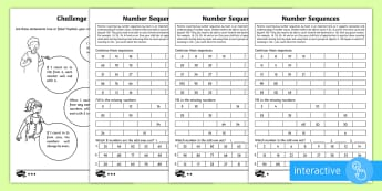 Year 2 Maths Number Sequences Homework Go Respond Activity Sheets - year 2, maths, homework, number sequences, place value, 2s, 3s, 5s, 10s, counting on, step sizes