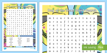 Day of the Dead Word Search - day of the dead, dia de los muertos, word search, day of the dead word search, hispanic celebrations