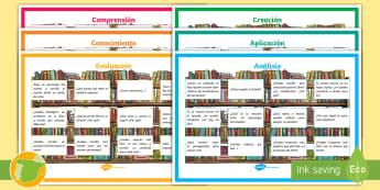 Pósters DIN A4: Preguntas para la lectura - taxonomía, Bloom, decoración, leer, comprensión, ,Spanish