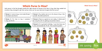 Which Purse Is Mine? Activity Sheet  - coins, currency, purse, problem solving, word problems, south african coins, shopping, worksheet