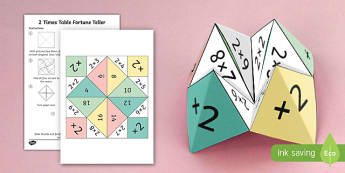 2 Times Table Fortune Teller - 2 times table, times table, fortune teller, activity, craft, fold, times tables