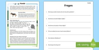 Hunde Leseverstehen Arbeitsblätter - Lesen, Hund, Tiere, Säugetiere, Üben, Übung, ,German