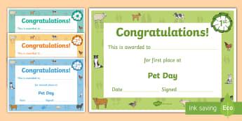 Farm Style Pet Day Certificates - New Zealand, Pet Day, Farm Safety, Pet Show, Certificates, participation, winner, place-getters