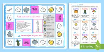 Juego de mesa: El tiempo - El tiempo y las estaciones del año, proyecto, jugar, reforzar vocabulario,Spanish