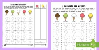 Favourite Ice Cream Data Activity Sheet - Australian Curriculum Statistics and Probability, maths, mathematics, Foundation, data representatio