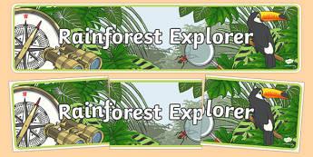 Rainforest Explorer Role Play Display Banner - rainforest, explorer, role play, display, banner, sign, poster, snake, forest, ecosystem, rain, humid, parrot, monkey, gorilla