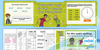 PlanIt Y4 Term 1B W5: 'ough' Words Spelling Pack - Spelling Packs Y4, Year 4, Y4, spelling, statutory, SPaG, GPS, weekly, lists, tests, ough, letter pa
