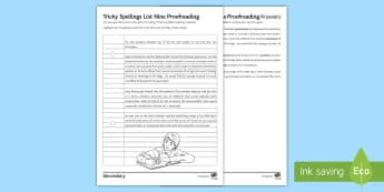 Tricky Spellings List Nine Proofreading Activity Sheet - misspelled, misspelt, Misspell, SPAG, accuracy, Spelling, Difficult words, common mistakes