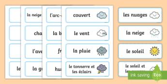 Cartes de vocabulaire : La météo - Temps, météo, meteo, vocabulaire, cartes, activité, cartes de vocabulaire, Weather Word Cards - s