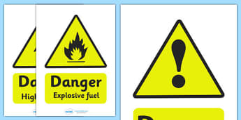 Mechanics/Garage Role Play Warning Signs - Mechanics/Garage Role Play Pack, garage,  sign, warning, mechanic, car, MOT, car parts, hydraulic lift, petrol, oil, role play, display, poster