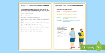 Rugby: Tap Tackle Techniques Card - Rugby, Tackling, Technique, KS3, tap tackle, Self Assessment, Peer Assessment