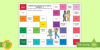 Juego de mesa: Multiplicación y división - x9 - multiplicar, dividir, mates, matemáticas, multiplciación, división, tablas de multiplicar, tabla