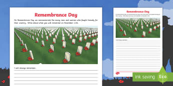 Remembrance Day Writing Activity Sheet - memorial, poppy, november, gratitude, first world war, second world war, november 11