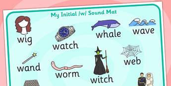 Initial w Sound Mat - initial w, w sound, sounds, sound mat, mat