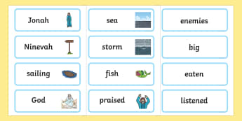 Jonah and the Big Fish Word Cards - Jonah, bible, big fish, God, Ninevah, fish, help, biblical story, word card, flashcards, cards, biblical stories, eaten by a fish, listen to god