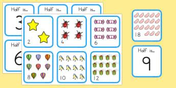 Halving Matching Activity - math, math games, matching cards