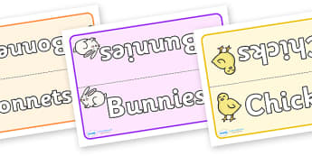 Easter Themed Group Table Signs - easter, Easter Topic, group signs, group labels, group table signs, table sign, teaching groups, class group, class groups, table label, Happy Easter, Easter Topic, Foundation, KS1, Easter, Easter resource, Easter te