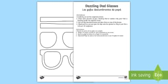 Father's Day Dazzling Dad Sunglasses Gift Craft English/Spanish - Father's Day Dazzling Dad Sunglasses Gift Craft - gift, craft, fathers day, EAL, English-Spanish, S