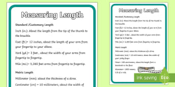 Length Display Poster - length, millimetres, centimetres, inches, feet, mile, yards, metric, imperial units.