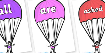 Tricky Words on Parachutes - Tricky words, DfES Letters and Sounds, Letters and sounds, display, words