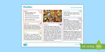 Toys: Marbles KS2 Exploration Sheet - toys, marbles, marble run, jacks, sphere, KS2, Imagine (KS2)
