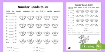 Number Bonds within 20 Activity Sheet - NI, KS1, Numeracy, addition, number bonds, mental maths, worksheet, homework, home learning. butterf