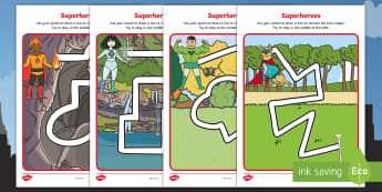 Superheroes  Pencil Control Path Activity Sheets - superheroes, comics, comic books, pencil control, fine motor, pencil control path activity sheets, s