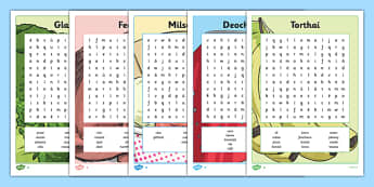 Bia Word Searches Pack - irish, gaeilge, bia, food, word search, activity, food types, vocabulary