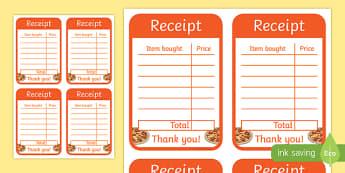 Pizza Parlour Role Play Receipt
