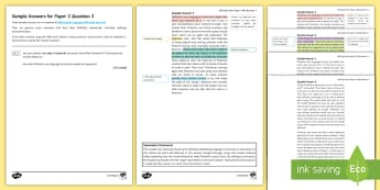 006 AQA English Language P2 Q3 Sample Answers Resource Pack - exemplar, sample, AQA, Paper 2, P2, question 3, Q3, marked, unmarked, mark scheme, examiner, revisio