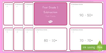 Common Core First Grade Math NBT C 6 Task Cards - Common Core, Number and Operations in Base Ten, Subtracting Tens, Number and Operations in Base Ten