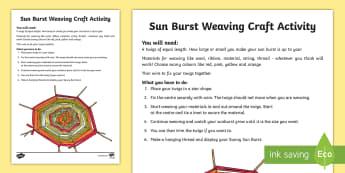 Sun Burst Weaving Craft Instructions - Summer Solstice, sun, midsummer, northern hemisphere, daylight, weaving, craft, outdoor, display, ar