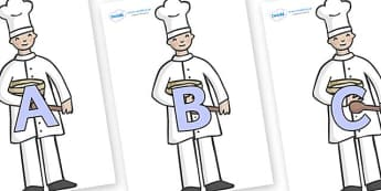 A-Z Alphabet on Bakers - A-Z, A4, display, Alphabet frieze, Display letters, Letter posters, A-Z letters, Alphabet flashcards