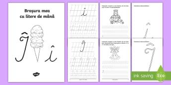 """Scrierea literelor """"î"""" și """"Δ de mână Broșură cu activități - alfabetul, scriere, litere, de mână, grafisme"""