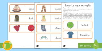 Juego: Emparejar la ropa - Inglés - clothes, lengua extranjera, inglés, english, game, ,Spanish-translation