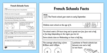 French Schools Fact Sheet - CfE, second Level, comparison study, schools, France