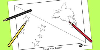 Papua New Guinea Flag Colouring Sheet - countries, geography