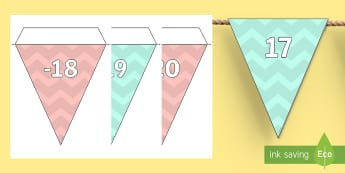 Pastel Zig-Zag Negative Numbers Display Bunting  - display, display bunting, numbers, numbes, nubers, bounting, number sequence, counting pass 0