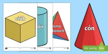 3D Shape Display Cut-Outs Gaeilge - Maths, Mata, Gaeilge, Irish, 3D shapes, cruth, cruthanna,Irish