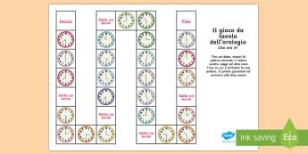 Il Gioco da Tavola dell'Orologio Gioco da Tavola - orologio, ora, orario, analogico, leggere, gioco, esercizio, italiano, italian