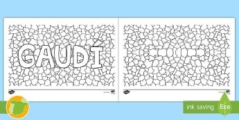 Colorea el trencadís de Gaudí - Gaudí, modernismo, arte, proyecto de arte, arquitectura,Spanish