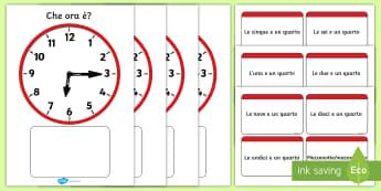 Orologio analogico quarti d'ora Attività - tempo, legegre, lo, orologio, tempop, analogico, digitale, quarto, d'ora,materiale, scolastico, ita