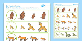 Gruffalo Themed Size Matching Worksheet - gruffalo, size matching