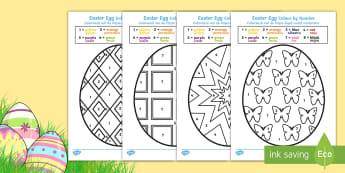 Easter Egg Colouring by Numbers Sheets English/Romanian - Easter Egg Colouring by Numbers Sheets - colouring, sheets, colouring by numbers, colour by number,